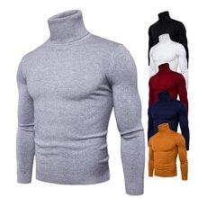 Suéter de cuello alto para hombre, jersey entallado de alta elasticidad, ropa de punto 3XL, primavera y otoño