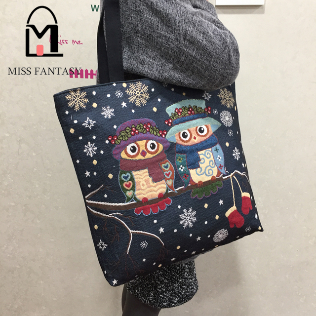 Women Bag Women's Canvas Handbag  Embroidery Owl Tote Lady Shopping Bag Big Travel Shoulder Bags 2017 Summer Holiday Beach Bag