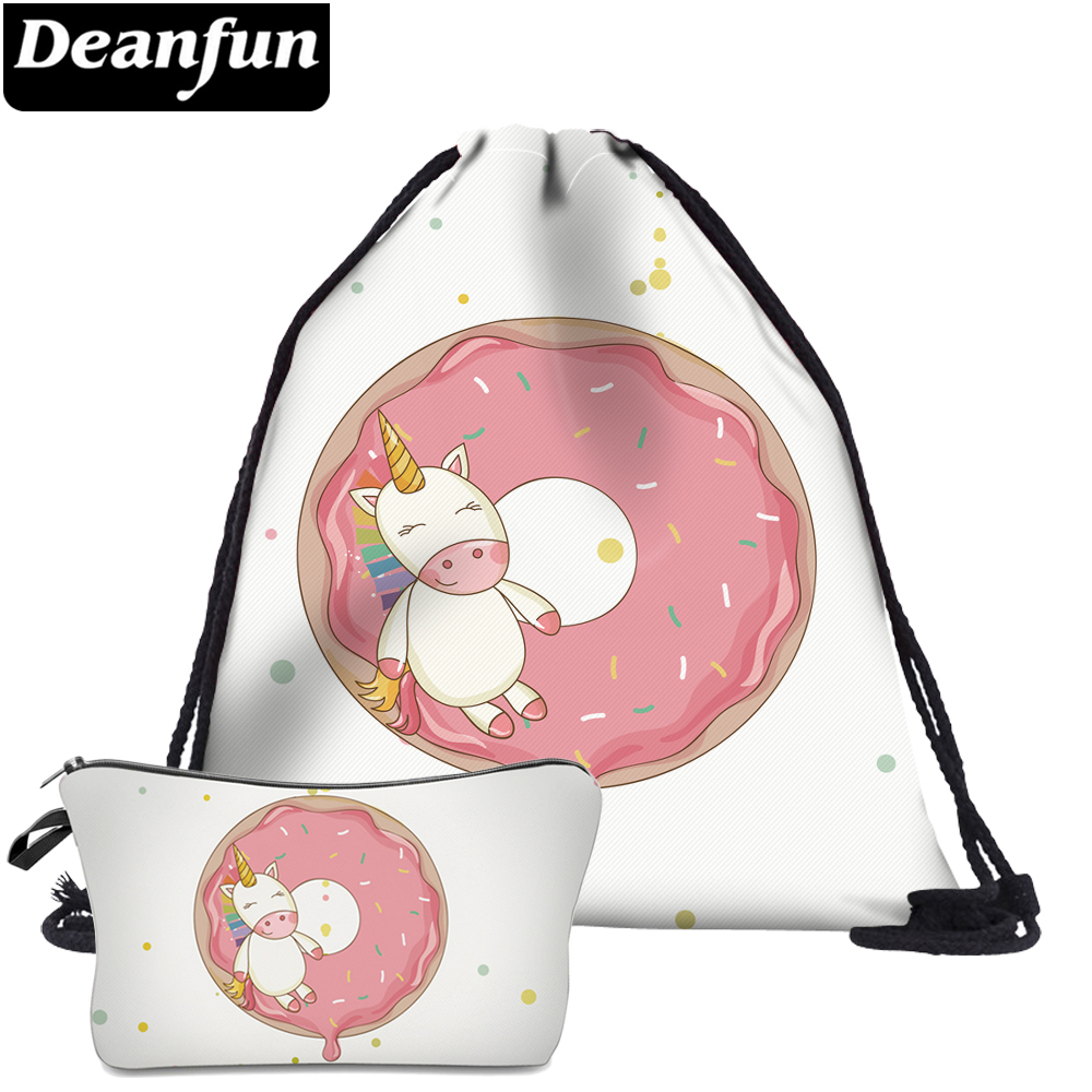 Deanfun 2Pc Unicorn Donuts Drawstring Bags 3D Printing Schoolbags For Teenager Girls