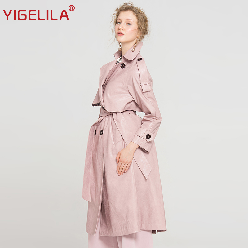 Mode Long 9677 Manteau coat Breasted Turn Slim Col 2019 Rose Ceinture Double Yigelila Pu Dernières Trench Down Femmes ZH0x06