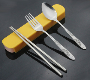 1SET Outdoor Travel Dinnerware Kit tableware chopstick/spoon/fork with box Stainless steel Cutlery kit ba KV 081