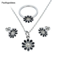 flower stainless steel jewelry set Wedding Engagement earrings necklace and rings set  for girl as gift
