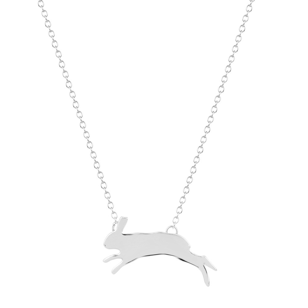 Todorova Simple Cute Bunny Silhouette Charm Animal Necklace Unique Running Rabbit Pendant Brand Jewelry Birthday Gift for Women