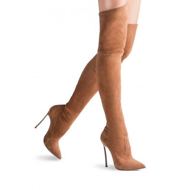 Sobre las botas de la rodilla las mujeres de tacón alto de la plataforma del dedo del pie botas altas hqzomqZ