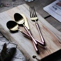Yilala Stainless Steel Dinner Tableware Set Golden Spoon Fork Knife Noble Household Metal Dinnerware Pink Dessert Spoons