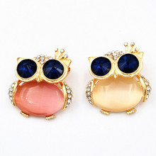 2019 New Owl Brooch  Blue Eyes Cute Fine Jewelry Ladies Collar Pin For Women Gifts