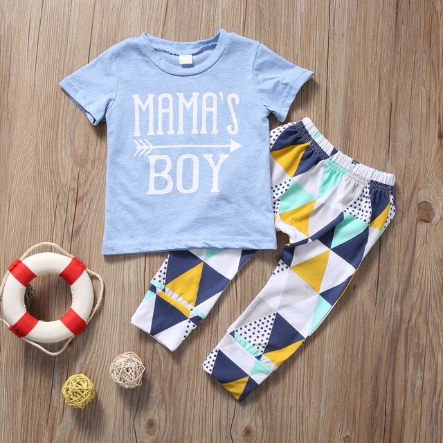 Summer 2017 Newborn Baby Boy Clothes Short Sleeve Cotton T-shirt Tops +Geometric Pant 2PCS Outfit Toddler Kids Clothing Set 1