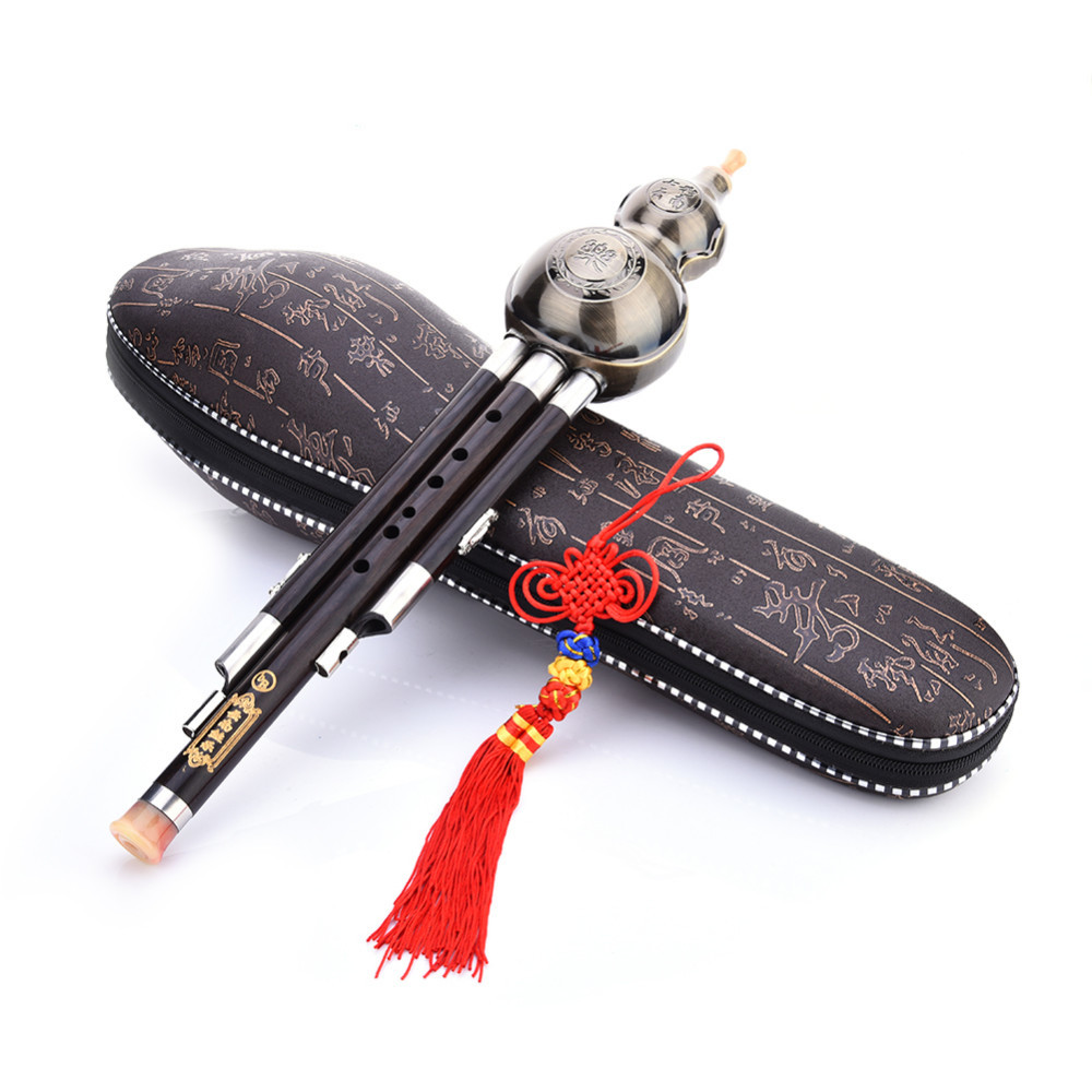Trois tons clé de C bB A Hulusi flûte cuivre placage ébène gourde résistant à l'humidité calebasse Cucurbit flûte Instruments nationaux chinois