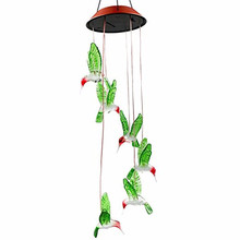 Color Changing LED Solar Wind Chime Hummingbird for Gardening Lighting