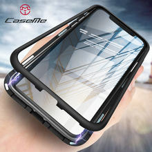 2019 10 pcs/lote Atacado Case Para iPhone X 8 7 6 s Mais Magnetica Transparente 360 Caixa De Vidro Temperado para iphone Xs(China)