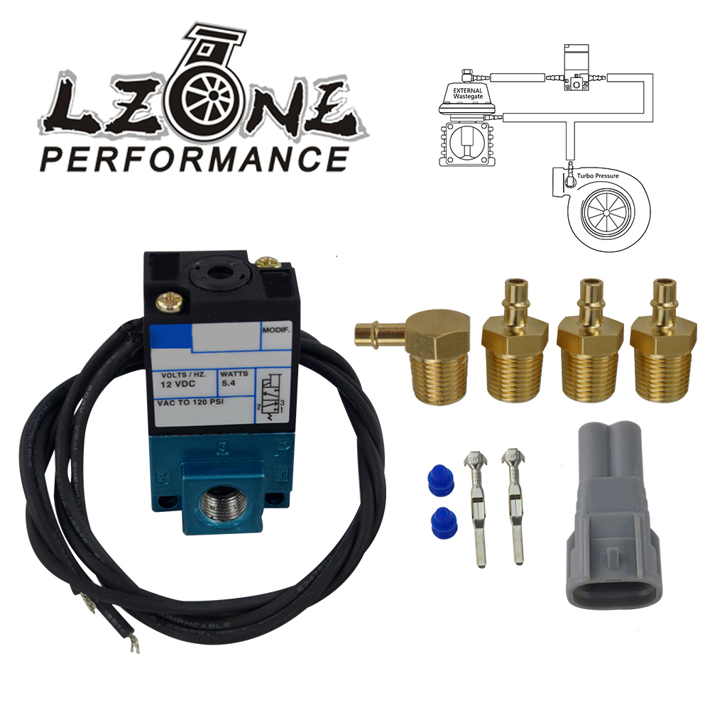 LZONE - 3 Port Electronic Boost Control Solenoid Valve 35A-ACA-DDBA-1BA With Brass Silencer JR-ECU00
