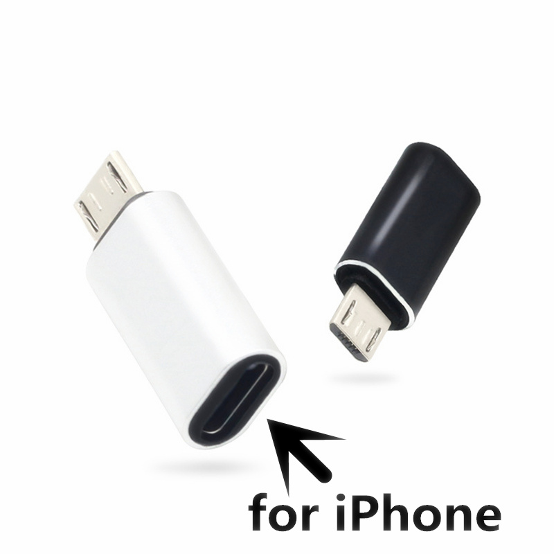 CatXaa Alloy Micro USB Male to <font><b>8</b></font> <font><b>Pin</b></font> USB <font><b>Cable</b></font> Converter Charger Data White Black Adapter for Apple <font><b>Iphone</b></font> 5 6 7 <font><b>8</b></font> X <font><b>Cable</b></font> image