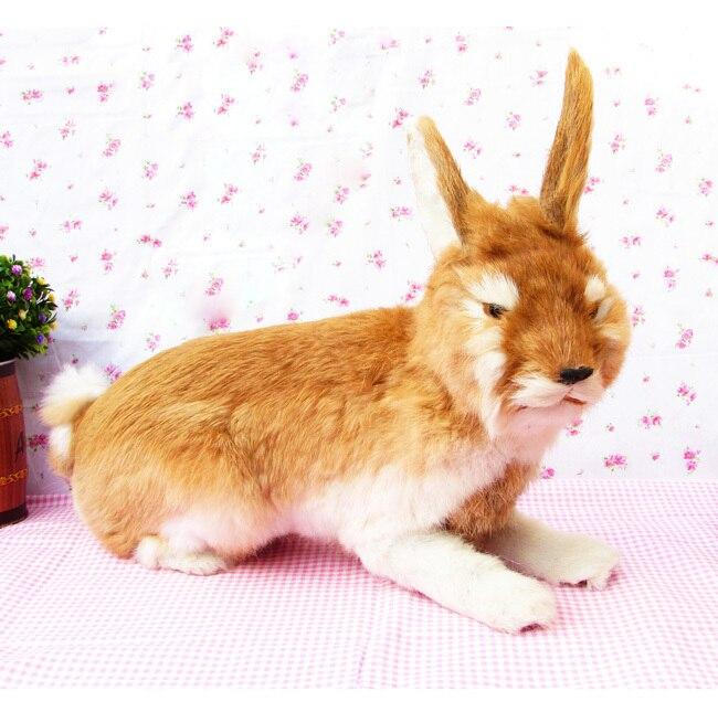 Grande belle simulation lapin jouet résine et fourrure jaune lapin poupée cadeau environ 44x15x35 cm 2430