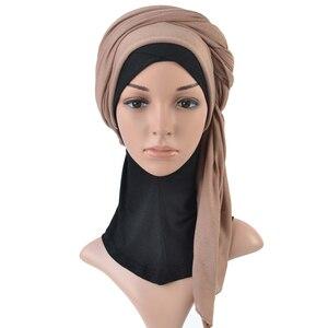 Image 4 - Tek parça başörtüsü eşarp maksi şal eşarp kadınlar müslüman hicap İslami bayan çaldı splid düz jersey başörtüsü 70x160 cm