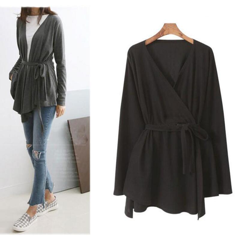 L-4XL Women Cardigan Tops Knitte Asymmetric Hem Wrap Lace-Up Belted Slim Casual Blouse Blusas Shirt Long Sleeve Kimono Plus Size 3