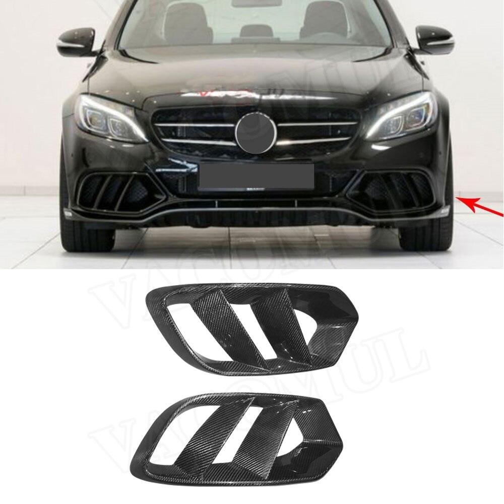 Avant en Fiber De carbone Pare-chocs D'air Couvercle De Sortie Garniture Maille Grill Cadre Pour Mercedes W205 C Classe C180 C200 2015 -2017