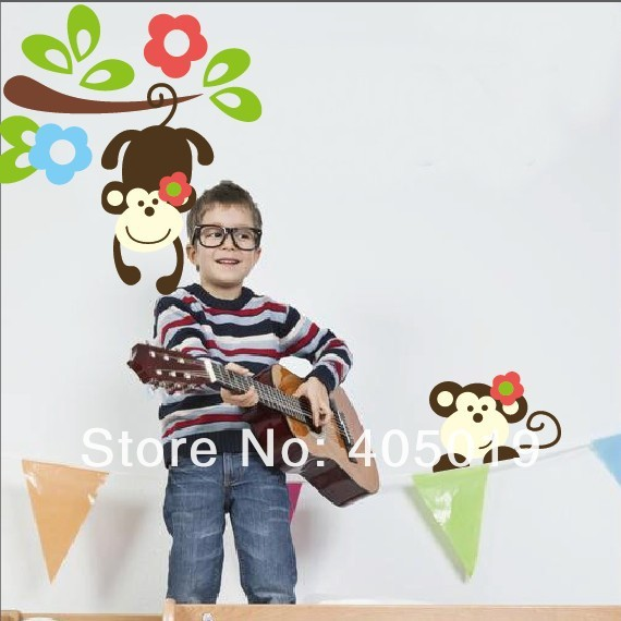 "Original 63x56cm /25""x22"" Cute S1202 Monkey and Tree Wall Sticker Nursery Decal Quality Animal Vinyl Wallpaper 5lot=Free Express"