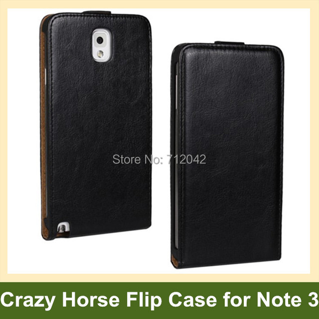 Luxury Crazy Horse Pattern PU Leather Flip Cover Case for Samsung Galaxy Note 3 SM-N900 with Magnetic Snap Free Shipping