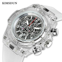 KIMSDUN Brand Men Watch Quartz Watch Skeleton Transparent Silicone Men's Sports Watch Water Resistant Chronograph Mens Watches