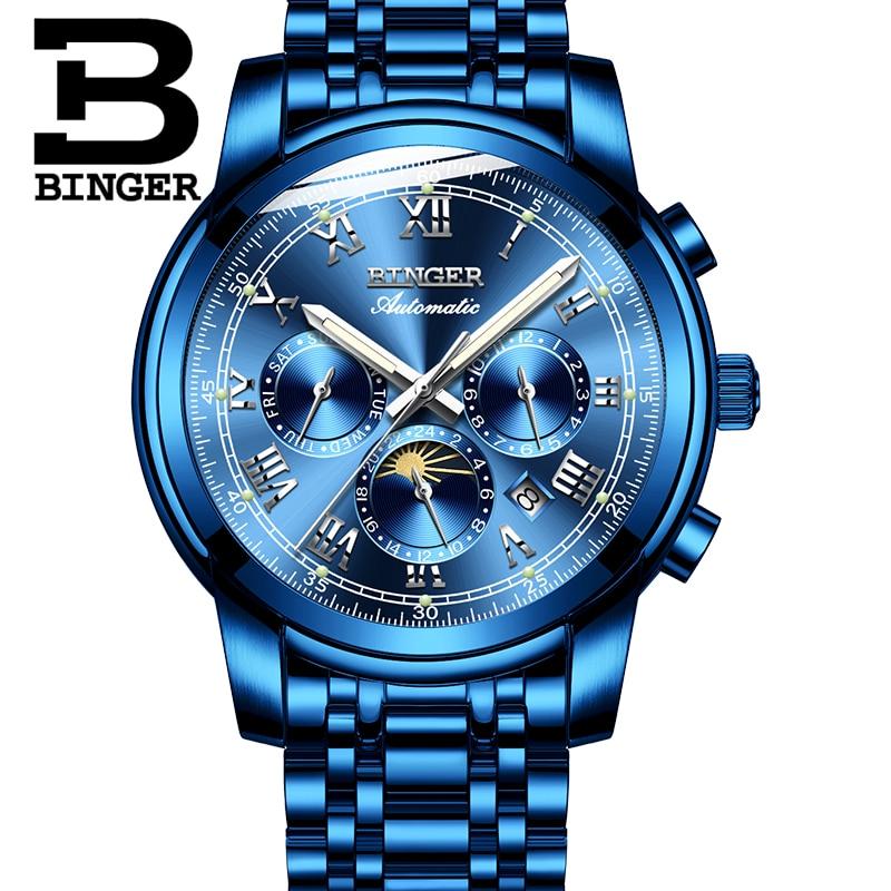 Saatler'ten Mekanik Saatler'de Yeni İsviçre Otomatik Mekanik İzle Erkekler Binger Lüks Marka Erkekler Saatler Safir Çok fonksiyonlu relogio masculino B1178 8'da  Grup 3