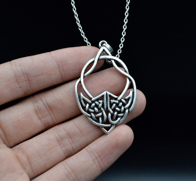 10pcs Large Celtics Wolf Necklace Silver Totem Wolf Tribal Necklace Cross Charm Pendant For Men Gift SGL252