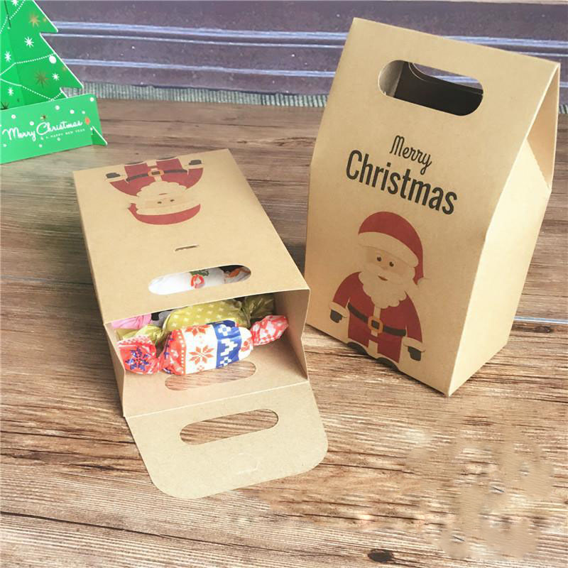 Cute Santa Deer Kraft Paper Candy Box Holder DIY Cookies Gift Boxes Christmas New Year Party Biscuits Handbag Box Festival Favor