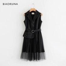 ベルト Vestidos 黒ノースリーブエレガントなドレスのパッチワークメッシュ高ドレスヴィンテージ女性のシックなファッションドレス BIAORUINA