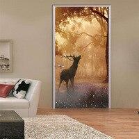 Forest Deer 3D Landscape Door Stickers Mural Waterproof PVC Poster Bedroom Home Decor