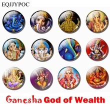 1pcs 30 mm Ganesha Fridge Magnet God of Wealth Glass Whiteboard Refrigerator Magnets Hinduism Magnetic Stickers Home Decoration