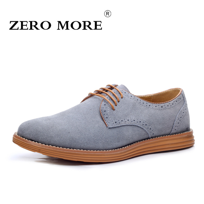 ZERO MORE British Oxford Shoes for Men Fashion High Quality Pointed Toe Formal Men Shoes Male Cow Suede Shoes Size 38-47 zero more brand fashion men shoes casual black oxford shoes for men high quality soft leather men wedding shoes zm131
