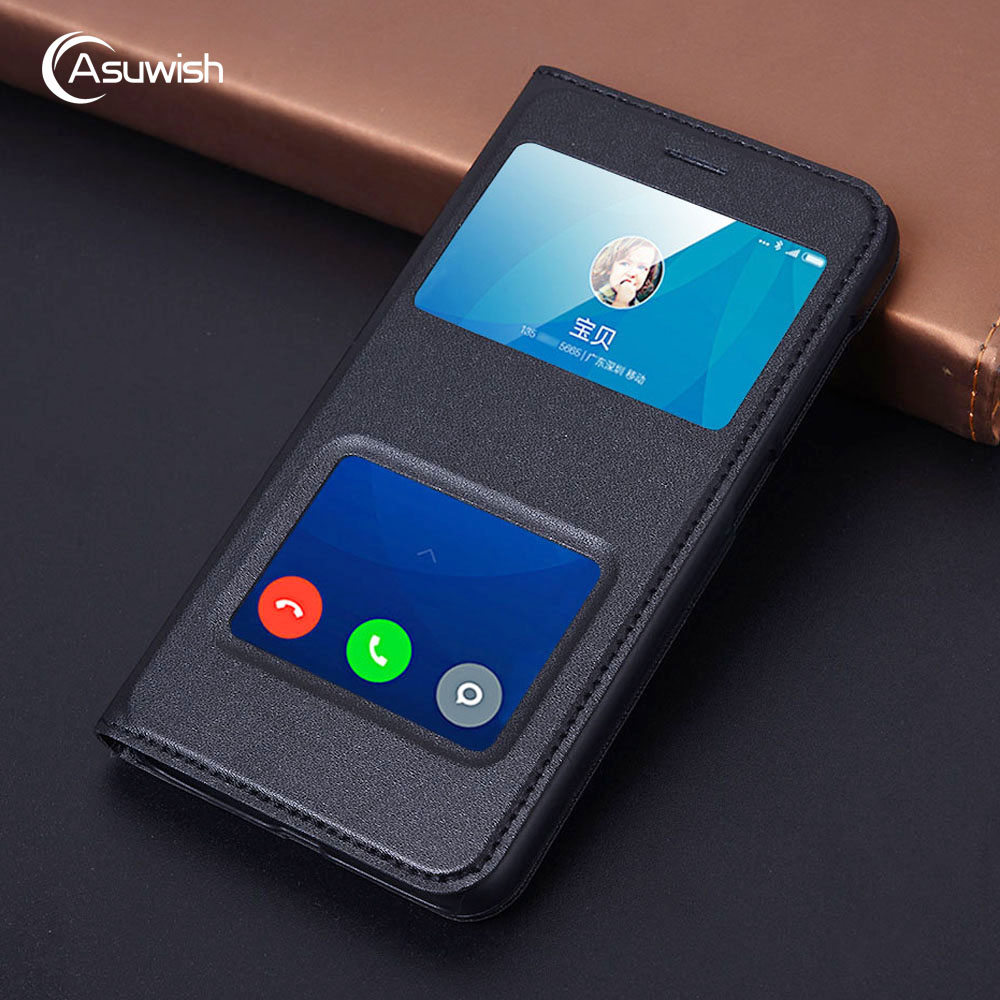 Asuwish Flip Cover Leather Case For Xiaomi Redmi 4X Pro 5.0 Global Version Redmi4X 32GB 64GB 16GB Phone Case Slim Two View Cover