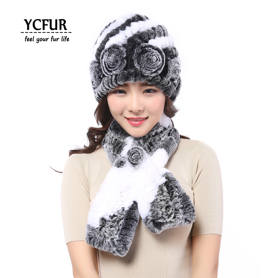 YCFUR Fashion Women Hats Scarves Winter Warm Soft Knit Real Rex Rabbit Fur Beanies Caps Winter Natural Fur Scarf Hat Women