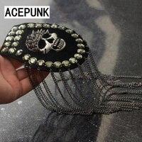 Scheletro Del Cranio Abbigliamento Decor Spallina Punk Gotico Rivetti Bordo Mark Metallo Nappa Della Vite Prigioniera del Punto Spallina Spalla