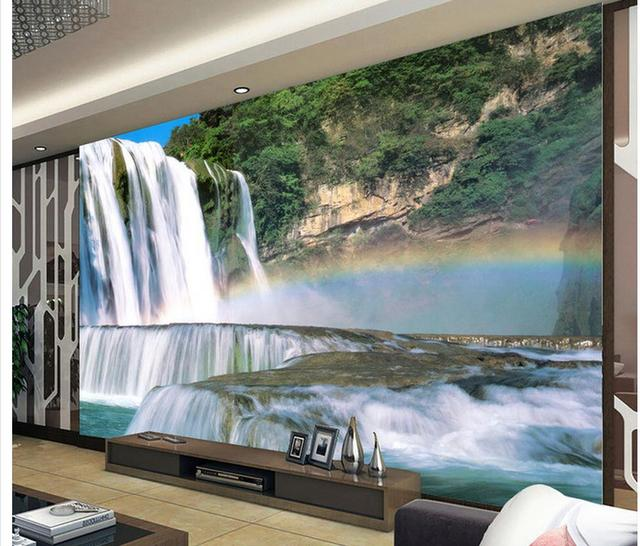 3d paysage papier peint mural 3d papier peint cascade mural fond mur salon 3d wallpaper chambre. Black Bedroom Furniture Sets. Home Design Ideas