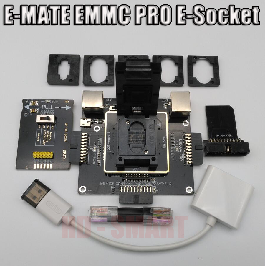 E-MATE scatola scatola Emate E-Socket 6 in 1 Nessuna saldatura BGA169E BGA162 BGA221 supporto Medusa box Pro/UFI/ATF/FACILE JTAG Spina/RIFF BOX
