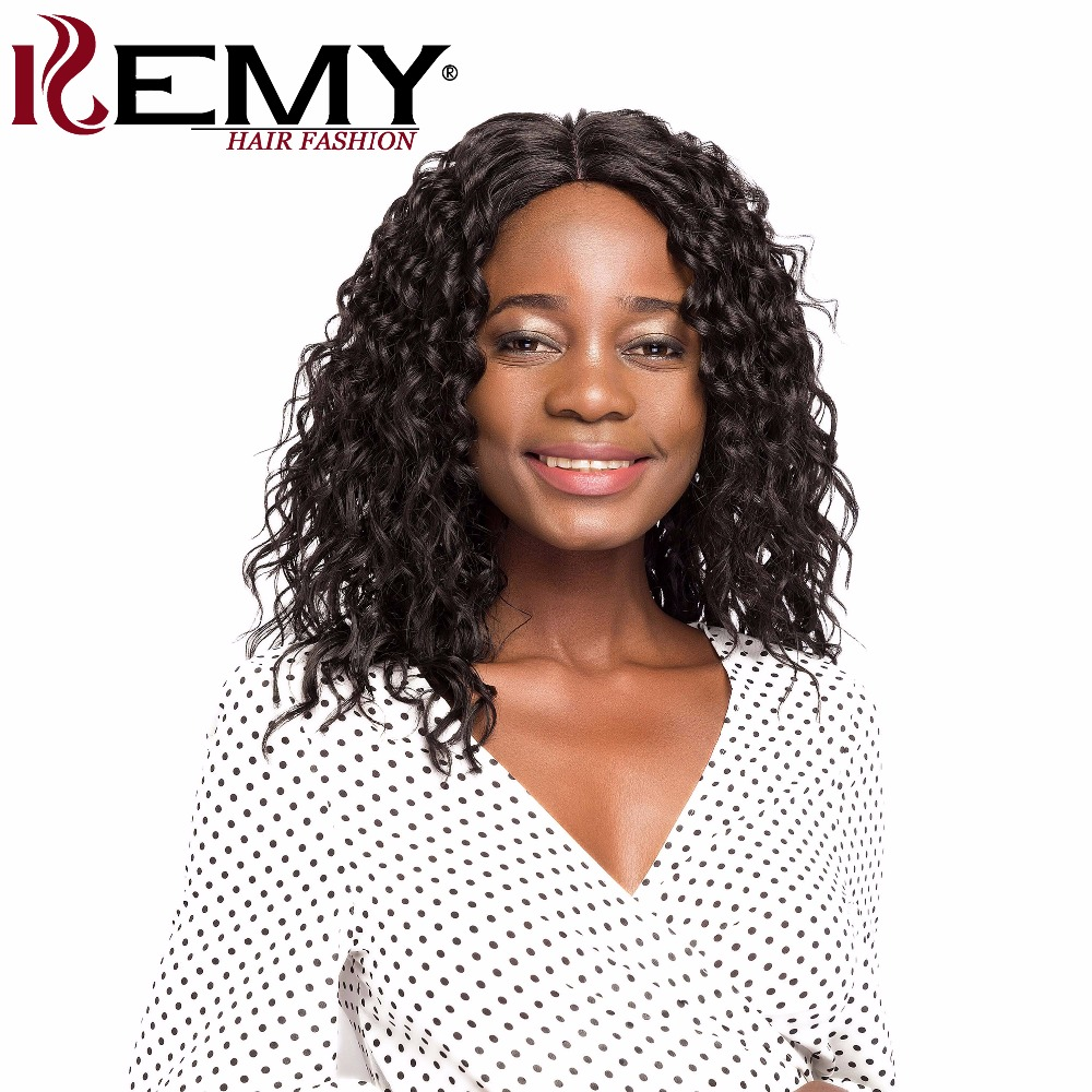 KEMY HAIR Synthetic Lace Wigs Kinky Curly Deep Invisible Middle Lace Part Long Curly Wigs For Black Women Heat Resistant Fiber