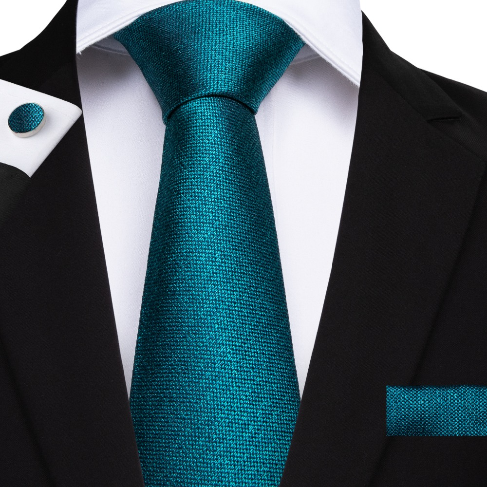 DiBanGu Silk Ties Teal Green Solid Color Skinny Tie Formal Necktie Pocket Square Cravatte Jacquard Woven Microfiber SJT-7138