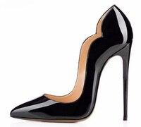 Black Patent Leather Sexy Women Pumps Unique Design Thin Stiletto Heels Pointed Toe Shallow Women Shoes