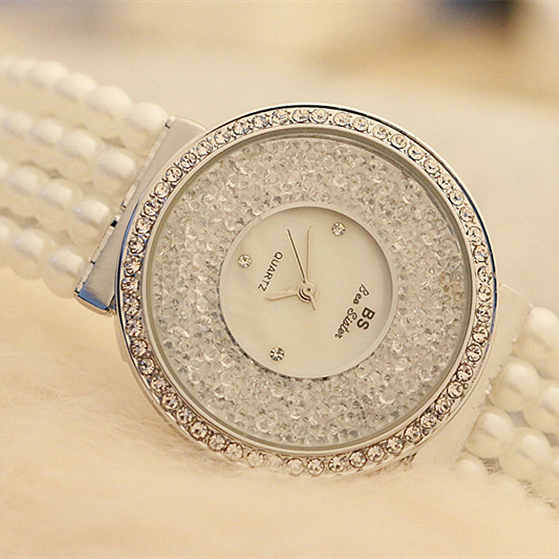 2019 Luxury Pearl Strap Casual Woman Watches Fashion Ladies Watch Women Rhinestone Quartz Watches Women Bracelet Reloj Mujer