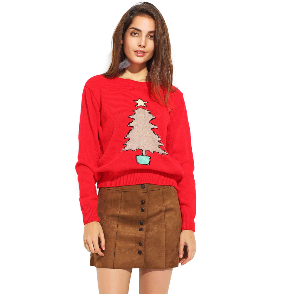 Christmas Tree Embroidered Women Sweaters Autumn Red Loose Crew Neck Long Sleeve Sweater Sweet Soft Tops For Wholesale