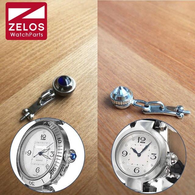 d17ba2064da Cristal de safira cartier pasha relógio parafuso coroa proteger guarda peças