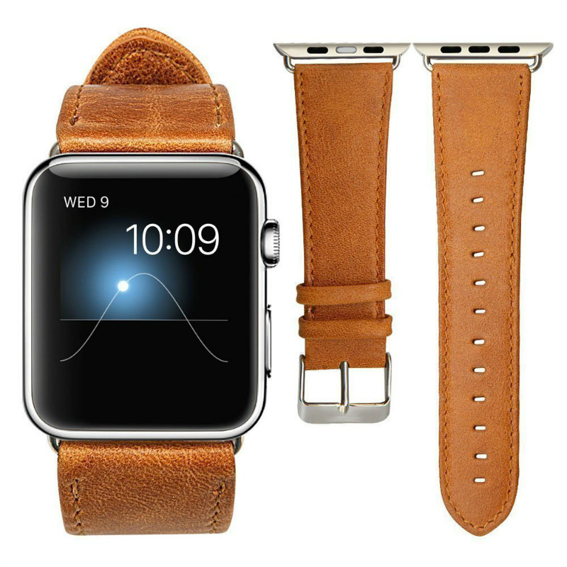 For Apple Watch Band  Leather Loop 42mm Bracelet Leather Watchband Adapter for Apple Watch Strap 42mm iWatch Strap 38mm Brown fohuas genuine leather loop for apple watch band 42mm iwatch leather strap 38mm bracelet flag pattern with adapter connector