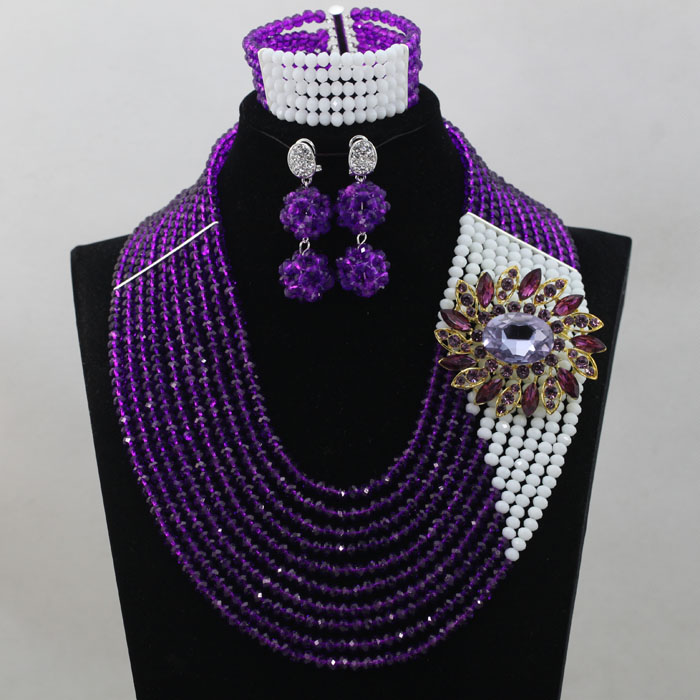 Splendid Purple Wedding Jewelry Beads Set Hot Sale Nigerian Beaded Jewelry Set Handmade Large Stock Free