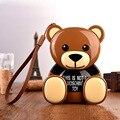 Encantador de la historieta de brown teddy bear 12000 mah banco de la energía 12000 mah dual usb externo de la batería con cuerda de la caída para el iphone samsung móvil