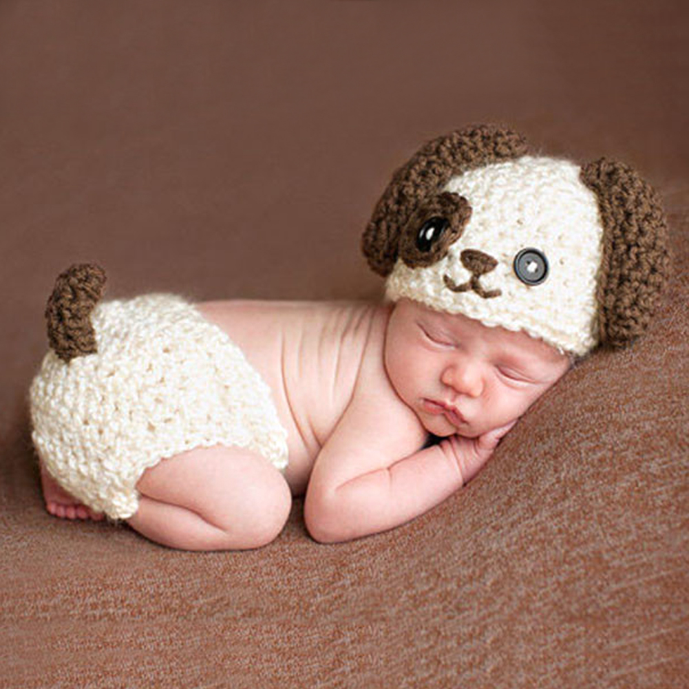 Baby Knitted Photography Prop  Newborn Hats Pants Puppy Dog Costume Baby Infant Dog Crochet Knit Cap Costume Prop newborn baby photography props infant knit crochet costume peacock photo prop costume headband hat clothes set baby shower gift