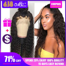 13x4 Water Wave Human Hair Lace Front Wigs Front Lace Wigs With Baby Hair Peruvian Wig Pre Plucked Hairline 150% Mshere Remy wig(China)