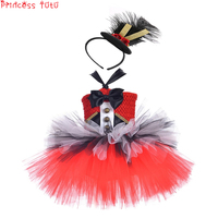 Noble Birthday Party Kids Girl Dress Ringmaster Circus Lion Tamer Costume With Top Hat Christmas Dress Outfit Halloween Cosplay