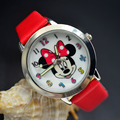 Cartoon Beautiful girl Minnie mouse style Color number dial children students girl's leather quartz watch 02
