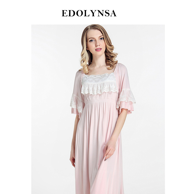 New Arrivals Lace Nightgowns Sleepshirts Home Dress Women Sleepwear Sleep Lounge Vintage Nightgown Female Solid Nightwear