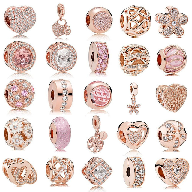 Rose Gold Color Charms Beads fits for  Bracelet 925 Sterling Silver Clip & Dangle & Hole Charm DIY Accessories Jewelry.